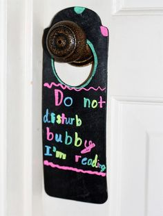 DIY Chalkboard Do Not Disturb Door Hanger tutorial by Cindy Hopper of Skiptomylou.org