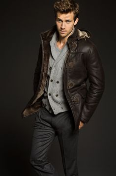 Brown Shearling Coat, Grey Wool Vest, and Charcoal Grey Trousers. Men's Fall Winter Fashion.