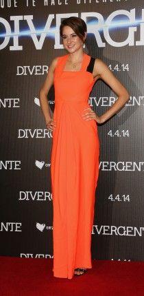 Shailene Woodley in a gorgeous orange dress