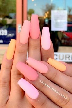 Acrylic nail designs 354447433174584093 - Matte Peach Nails Design ★ Easy, cute and fun summer nail designs are waiting for you to get inspired with. Make sure that you greet the beach season right! Nails Yellow, Matte Pink Nails, Polygel Nails, Coffin Nails Matte, Peach Nails, Best Acrylic Nails, Swag Nails, Glitter Nails, Acrylic Nails For Summer Coffin