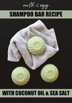 """Sea Salt Shampoo Bar Recipe with Milk & Egg! Free of sulfates and surfactants, t., Hair Care, """" Sea Salt Shampoo Bar Recipe with Milk & Egg! Free of sulfates and surfactants, this sea salt shampoo bar recipe is made with simple ingredients for a . Diy Shampoo, Sea Salt Shampoo, Solid Shampoo, Homemade Shampoo, Natural Shampoo, Homemade Facials, How To Make Shampoo, Homemade Conditioner, Honey Shampoo"""