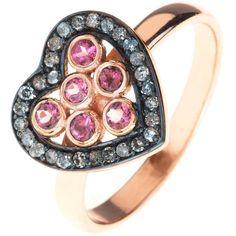 Latelita London - Diamond Heart Pink Tourmaline Ring ($210) ❤ liked on Polyvore featuring jewelry, rings, diamond jewellery, black gold jewelry, pink tourmaline ring, round cut diamond rings and diamond jewelry