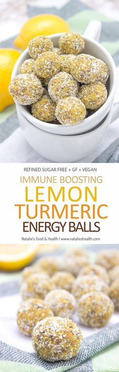 Healthy Snacks Lemon Turmeric Energy Balls rich in beautiful citrus aroma enriched with turmeric, and chia seeds. These immune boosting, refined sugar-free energy balls are rich in fibers and plant-based proteins. Perfect for everyday snacking. Vegan Desserts, Raw Food Recipes, Gluten Free Recipes, Snack Recipes, Cooking Recipes, Healthy Recipes, Snacks Ideas, Qinuoa Recipes, Oatmeal Recipes
