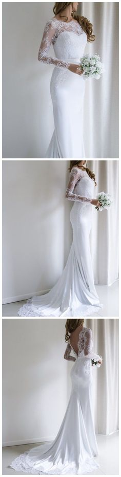 Bohoprom romantic long appliqued mermaid wedding dresses, made of acetate satin and embellished with appliques, white wedding dress, #weddingdress #bohoprom #weddingdresses