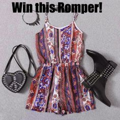 MyStyleSpot: GIVEAWAY: Win a Super Cute Romper for Summer CLICK TO ENTER TO WIN! open WORLDWIDE! ENDS JUNE 17,2014  #contest #win #sweepstakes #giveaway #fashion #style #shopping #clothes #clothing #shoes #bag #handbag #purse #accessories #jewelry #romwe #mystylespot Romwe, Cute Rompers, Paisley Pattern, Super Cute, Summer Dresses, My Style, Womens Fashion, How To Wear, Outfits