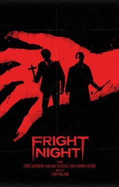 K. Imma sucka for anything Fright Night related but DAMN if this minimalistic movie poster for the original Fright Night by Daniel Norris isn't stunning! The simple red and blacks are a contrast from the iconic ORIGINAL movie poster art for which I am a huge fan. Simple but STRONG! L-U-V!