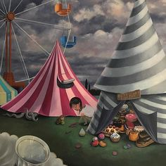 Carnival is now open!🎪 My squad and I have just arrived and.the first thing I do is to reach for the lollies. How typical of me 😅🍰🍦🍭🍩 Nz Art, Pop Surrealism, Daydream, Insta Art, Squad, Carnival, Park, Desserts, Painting