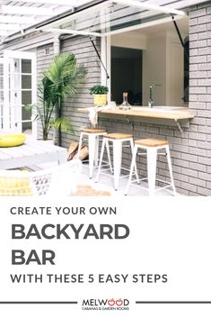 Backyard Bars are quickly taking off as the newest (and coolest) trend in outdoor living. How to create a Backyard Bar in 5 easy steps. Garden Room, Interior And Exterior, Outdoor Living, Outdoor Lounge, Timber Cabin, Backyard Bar, Lounge Cushions, Outdoor Lounge Cushions, Renovating For Profit