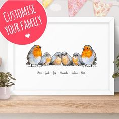 Robin Family Names Custom Print - Robin family print, Robin gift for family name sign, baby name print robin mothers day gift for mum Gifts For Your Mom, Gifts For Family, Family Name Signs, Family Names, Baby Name Art, Gifts For Pregnant Women, Twin Baby Gifts, Corona Floral, Baby Frame