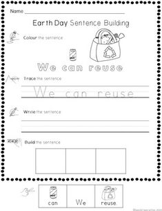 Earth Day Cut-and-Paste Word and Sentence Building Worksheets Word Sentences, Simple Sentences, Vocabulary Words, Sentence Building, Word Building, Touch And Feel Book, Self Advocacy, Environment Day, Sentence Writing