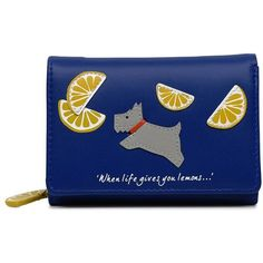 Radley Lemons Small Folded Purse featuring polyvore, women's fashion, bags, wallets, bags & luggage purses, tri-fold leather wallet, fold over wallet, folding wallet, genuine leather wallet and blue bag