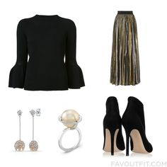 Shopping Advice Including Carolina Herrera Sweater Long Elastic Waist Skirt Gianvito Rossi Ankle Booties And 14K Diamond Earrings From November 2016 #outfit #look