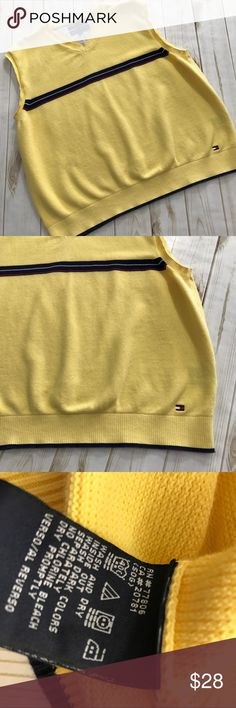 Tommy Hilfiger Mens Yellow Sweater Vest, XXL Tommy Hilfiger Mens Yellow Sweater Vest, XXL  Fantastic preowned condition, top of shoulder to very bottom hem measurement is approximately 25 inches, armpit to armpit measurement is approximately 23 inches.   Please be sure to check out all of my other items, same day or next business day shipping out is guaranteed once paid! Tommy Hilfiger Sweaters