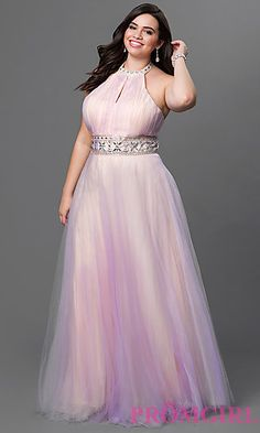 Floor Length Tulle Halter Dress at PromGirl.com