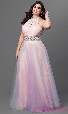 Floor Length Tulle Halter Dress at PromGirl.com