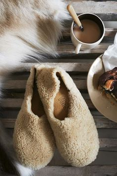 Warm fuzzy slippers and something hot to drink