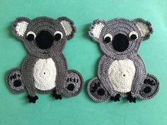 Finished crochet koala group landscape