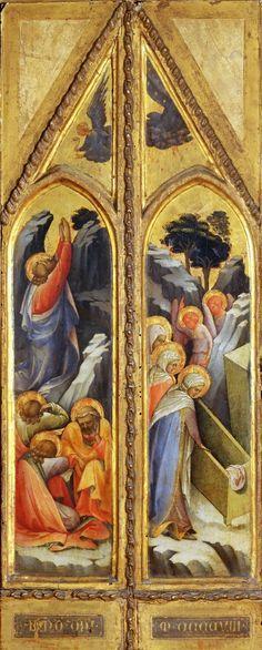 Lorenzo Monaco - Cristo nell'orto e Pie donne al sepolcro (pala d'altare) - 1408 - Musée du Louvre, Parigi