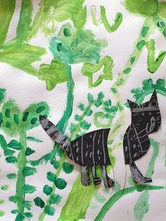 Kočka na louce. Práce předškoláků našeho výtvarného studia. Studios, Kids
