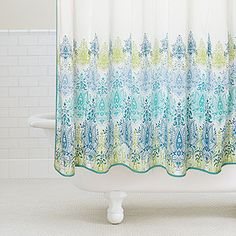 Blue/Green Print Shower Curtain from World Market - Spruce up your bathroom decor for this spring with a brand new light and pretty shower curtain to chase away winter dullness!