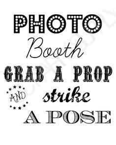 Free Printable Photo Booth Sign, Free Printables, Wedding Printable, Free Stuff