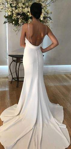 Tamora wedding dress by Kelly Faetanini Fitted crepe fit-to-flare bridal gown with open cowl back Wedding Dress Low Back, Spaghetti Strap Wedding Dress, Simple Wedding Gowns, Minimalist Wedding Dresses, Wedding Dresses With Straps, Gorgeous Wedding Dress, Dream Wedding Dresses, Bridal Dresses, Bridesmaid Dresses