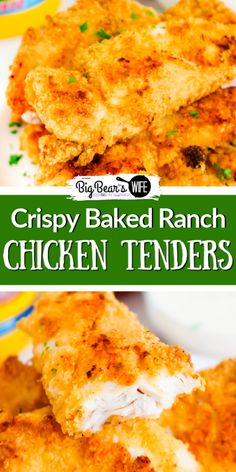 Crispy Baked Ranch Chicken Tenders – Big Bear's Wife If you love ranch and chicken tenders you've found the best recipe for Crispy Baked Ranch Chicken Tenders right here! These chicken tenders are the crispiest baked chicken tenders I've ever made. Good Fried Chicken, Oven Baked Chicken Tenders, Baked Ranch Chicken, Baked Chicken Tenderloins, Ranch Dressing Chicken, Air Fryer Chicken Tenders, Frozen Chicken, Bbq Chicken, Chicken Strip Recipes