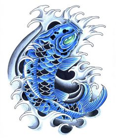 The blue Koi tattoo is associated with a male dominant nature. This koi tattoo is also termed as reproduction.