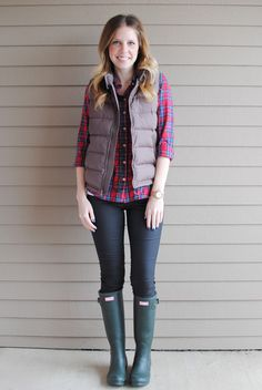 cute preppy plaid print with vest and rain boots. i think could also be worn with a cute boyfriend crop jean and loafers