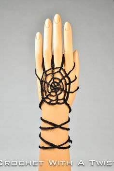 """Halloween black spider web costume hand jewelry/accessory straps approx 19"""" long on Etsy, $10.00"""