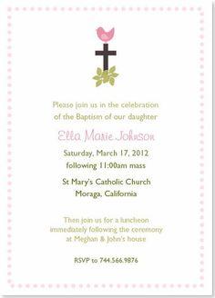 Little Pink Birdie Baptism Christening Invitation