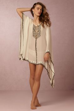 embellished beach cover-up with statement metallic-beading on silk. This draped, high-low kaftan is perfect for a bohemian getaway. | Legacy Kaftan from BHLDN