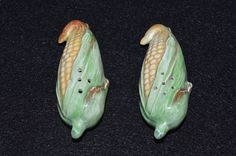 Corn Salt and Pepper Shakers, Corn Shaped S&P Set, Figural Corn Husk Shakers, Ceramic Condiment Set, Green Japan Stamp Cork Stoppers by FabulousVintageStore on Etsy