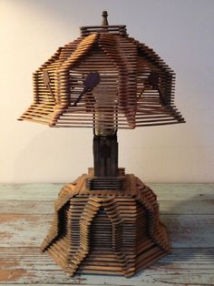 Vintage Tramp Folk Art Popsicle Stick Lamp Prison by threefootweid, $125.00 FREE S!