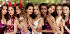 """September 2004 - We have devoted the cover of our biggest fashion issue ever to nine girls who represent the future of the business;wrote Anna Wintour.We feature such photographs very rarely,"""" she explained. Whats changing now and here, as so often, fashion is the first to register the tremors is that our appreciation of fame is being revised.From left: Daria Werbowy, Natalia Vodianova, Gisele Bndchen, Isabeli Fontana, Karolina Kurkova, Liya Kebede, Hana Soukupova, Gemma Ward, Karen Elson"""