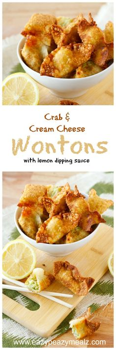 Crab and Cream Cheese Wontons with Lemon Dipping Sauce: So easy to make at home there is no need to go out! You will want these DAILY! -Eazy Peazy Mealz