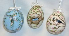 Set of 3 Gourd Easter Eggs   Hand Painted  by FromGramsHouse