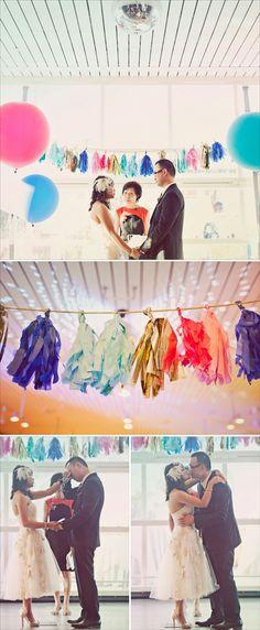 Colourful wedding ceremony decor