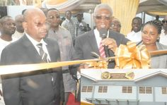 Nii Osah Mills, Minister of Lands and Natural Resources, cutting the tape to inaugurate a gold refinery in Accra. Those in the picture include Mr Godwin Kwaku Amekuedi (left), Chief Executive Officer of Sahara Gold Limited, Mr Elvis Afriyie Ankrah (2nd left), Minister of State at the presidency, and other officials. INSET: A view of  Sahara Royal Gold Limited. Picture: Gabriel Ahiabor