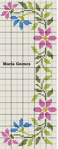 Ponto Cruz e Outros Artigos Cross Stitch Borders, Cross Stitch Flowers, Cross Stitch Designs, Cross Stitching, Cross Stitch Patterns, Filet Crochet, Smocking, Le Point, Embroidery Designs