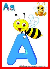 Fise de lucru - gradinita: SET de Planse colorate cu litere pentru clasa Abc Crafts, Preschool Crafts, Learning The Alphabet, Kids Learning, Picture Story For Kids, Preschool Speech Therapy, Bumble Bee Birthday, Alphabet Pictures, School Painting