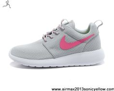 3125fa1676d5 Sale Cheap Womens Nike Roshe Run Light Gray Pink Shoes Sports Shoes Store