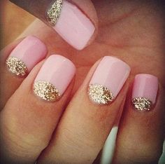 Acrylic nail designs tumblr 2013 Pink and glitter nails Reverse Mani