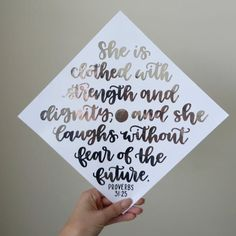 She is clothed with strength & dignity and laughs without High School Graduation Quotes, Funny Graduation Caps, Graduation Cap Designs, Graduation Cap Decoration, Graduation Party Decor, Graduation Pictures, Grad Parties, Grad Cap, College Graduation