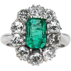 Pre-owned Columbian Emerald Engagement Ring with Sparkling Old Mine... (11,605 CAD) ❤ liked on Polyvore featuring jewelry, rings, engagement rings, halo diamond ring, emerald engagement rings, cluster engagement rings, emerald cluster ring and horn ring