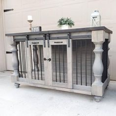 Dog Crate Furniture, Solid Wood Furniture, Custom Furniture, Furniture Design, Double Dog Crate, Rustic Kitchen Tables, Farmhouse Table, Rustic Farmhouse, Custom Dog Kennel