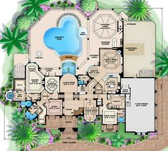 Home Design Plans, Plan Design, Dream House Plans, House Floor Plans, Master Suite, Master Bath, Built In Entertainment Center, House Layouts, Workout Rooms