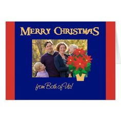 Red Poinsettias Christmas Photo From Both of Us Card - merry christmas diy xmas present gift idea family holidays