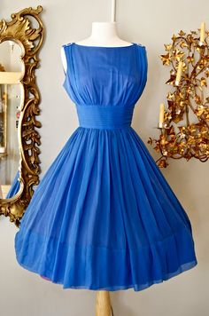 1950s Steel Blue Cocktail Dress ~ absolutely gorgeous!