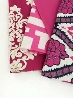 NEW Robert Allen Fuchsia colours showing pattern on pattern combinations.